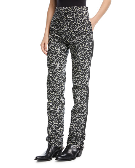 Daisy-Print High-Waist Straight-Leg Pants