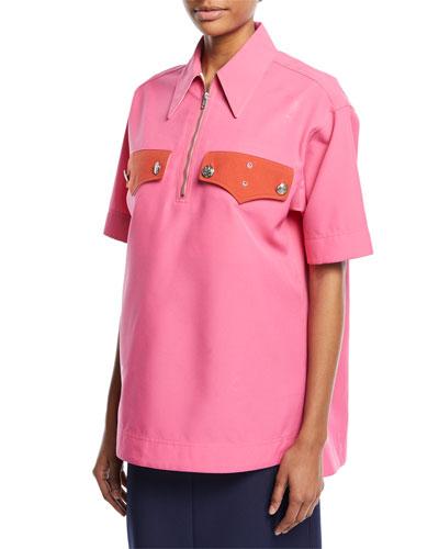 Half-Zip Short-Sleeve Boxy Shirt