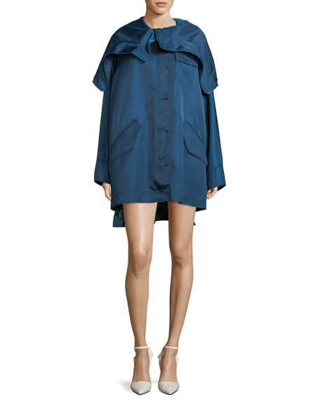 Side-Zip Hood Zip Detail Taffeta Parka Jacket