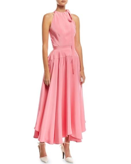 Sleeveless Halter Long Dress with Full Skirt