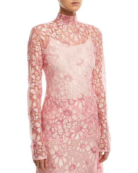CALVIN KLEIN 205W39NYC Mock-Neck Long-Sleeve Sheer Lace Blouse
