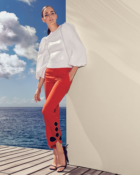 Straight-Leg Wool Pants with Embroidery
