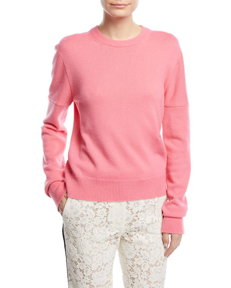 CALVIN KLEIN 205W39NYC Crewneck Cold-Shoulder Cashmere Sweater