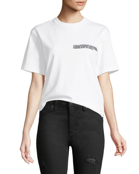 CALVIN KLEIN 205W39NYC Crewneck Short-Sleeve Cotton Tee with