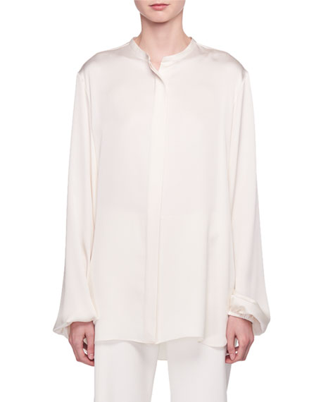 Maura Button-Front Silk Satin Shirt