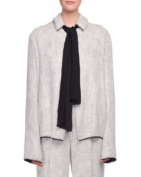Connie Scarf-Neck Open-Front Tweed Jacket