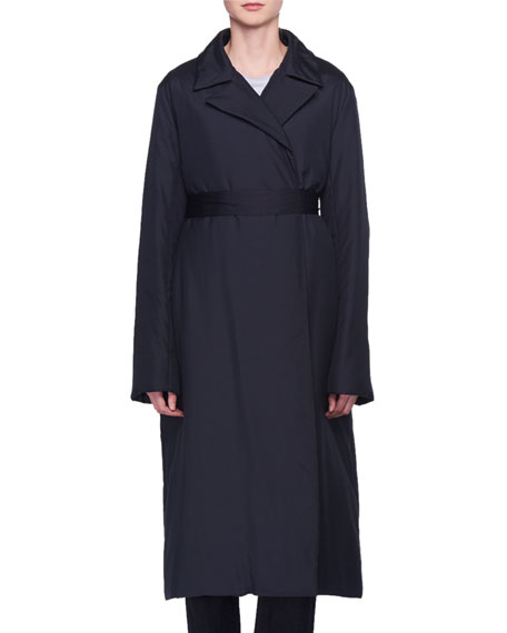 Dundi Notched-Lapel Belted Silk Coat