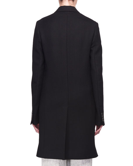 Three-Button Long Wool Coat