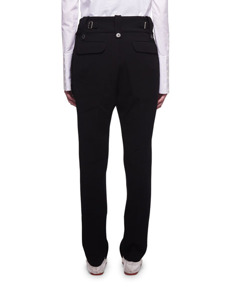 Searl Mid-Rise Wool Tapered-Leg Pants with Sequined Trim