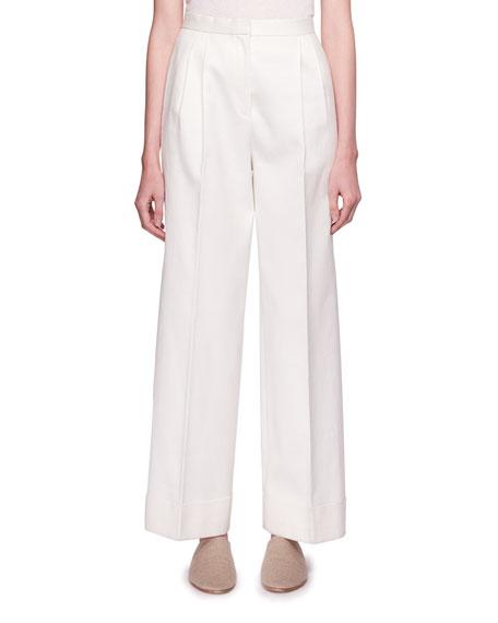 THE ROW Lian High-Waist Wide-Leg Wool Pants