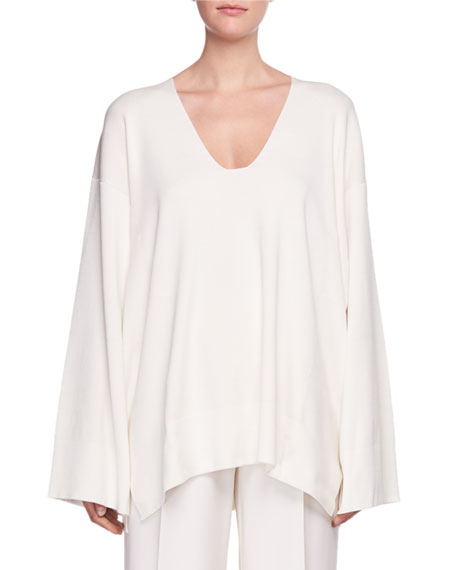 Lesli V-Neck Long-Sleeve Oversized Sweater