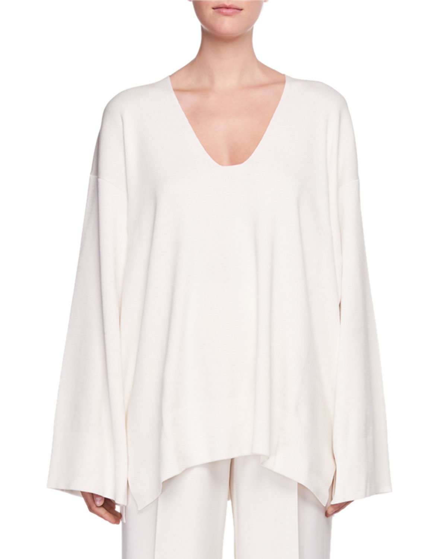 a30673aae2836 THE ROW Lesli V-Neck Long-Sleeve Oversized Sweater | Neiman Marcus