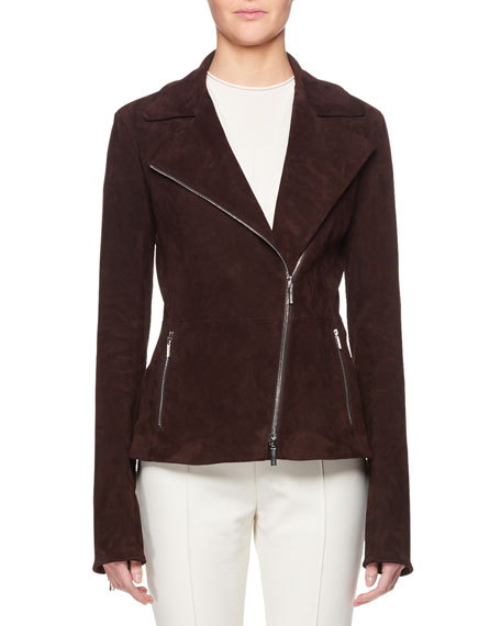 Paylee Asymmetric Zip-Front Suede Leather Moto Jacket