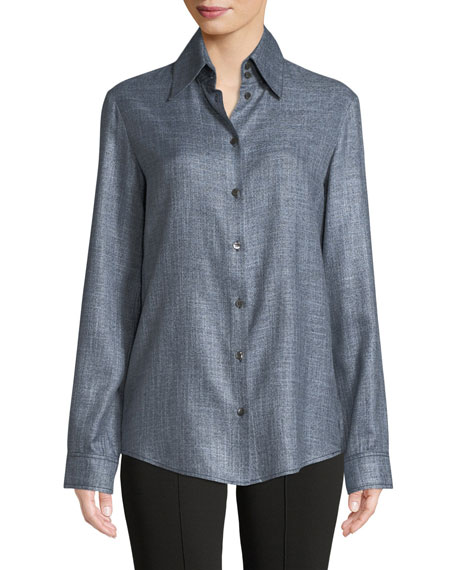 Ravia Button-Front Long-Sleeve Bamboo Shirt