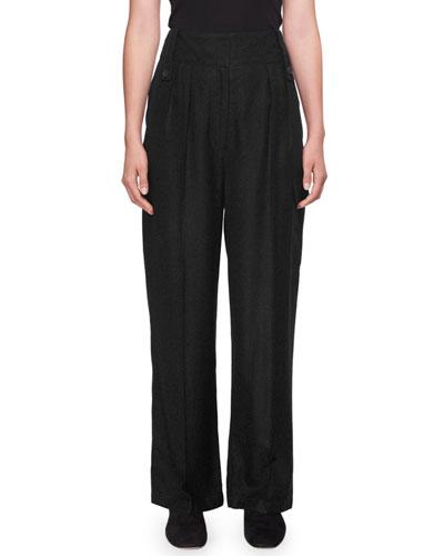 Kiefer High-Waist Wide-Leg Wool-Blend Pants