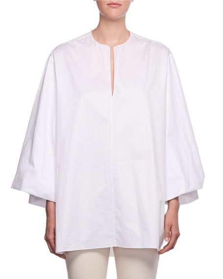 Charis Split-Neck Oversized Sea-Island Cotton Shirt