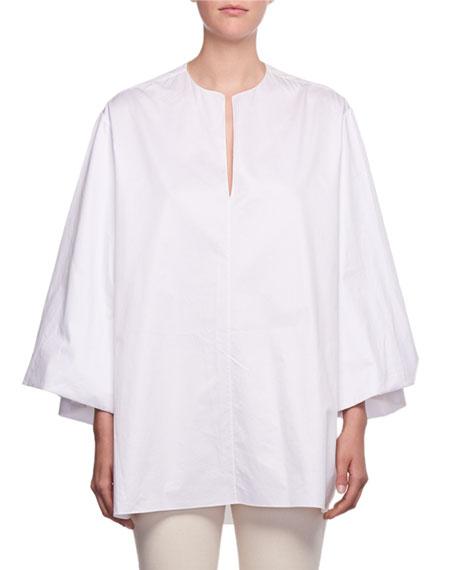 THE ROW Charis Split-Neck Oversized Sea-Island Cotton Shirt