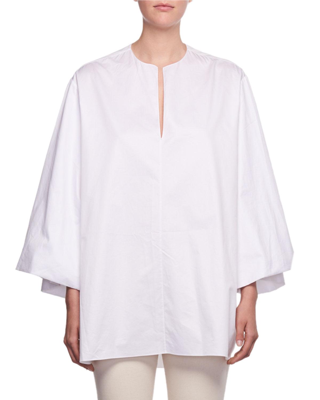 The Row Charis Split Neck Oversized Sea Island Cotton Shirt Neiman