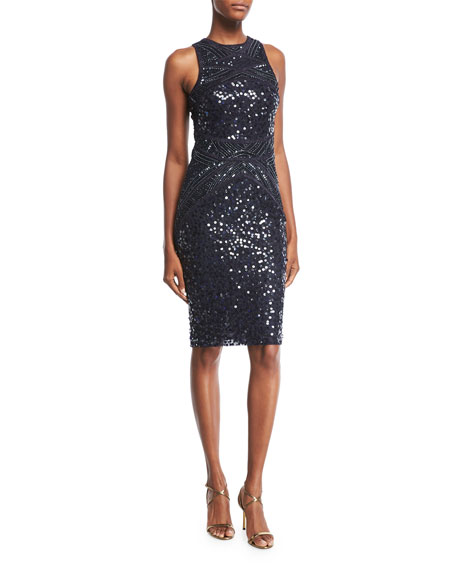 Renee High-Neck Sleeveless Sequined Cocktail Dress