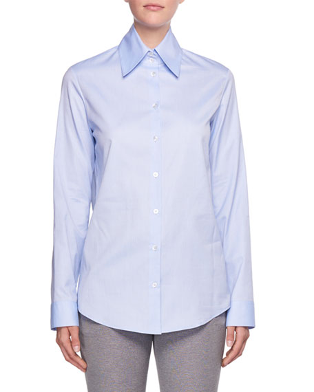 Ravia Button-Front Cotton Shirt