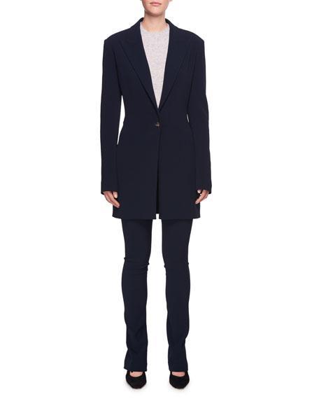 Maklin One-Button Long Wool Blazer Jacket