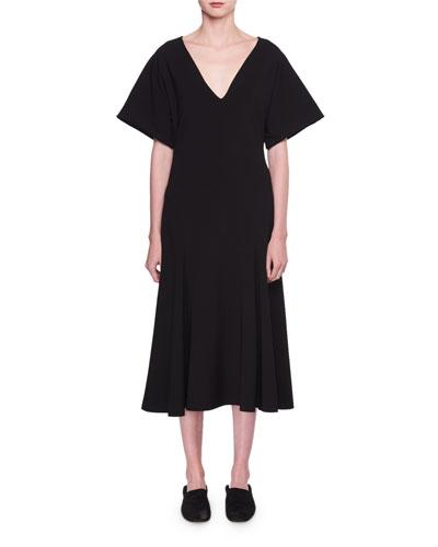 Lucid Deep-V A-Line Midi Dress