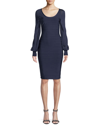 Sheer Long-Sleeve Fitted Bandage Cocktail Dress