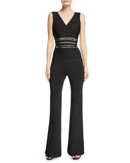 Herve Leger V-Neck Sleeveless Flared-Leg Jumpsuit