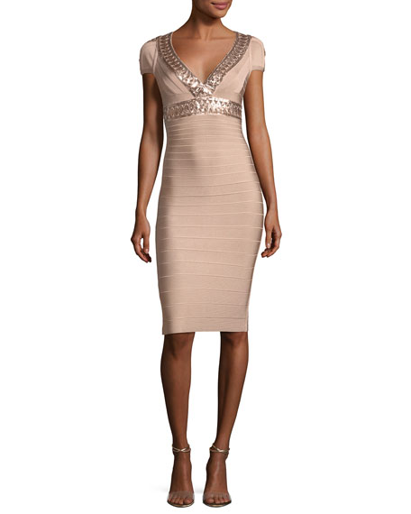 V-Neck Cap-Sleeve Bandage Cocktail Dress with Laser-cut Sequins