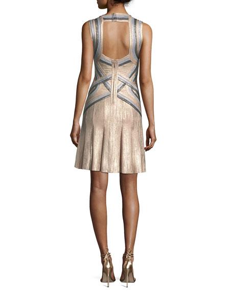 Tricolor Sleeveless Halter-Neck Bandage Cocktail Dress