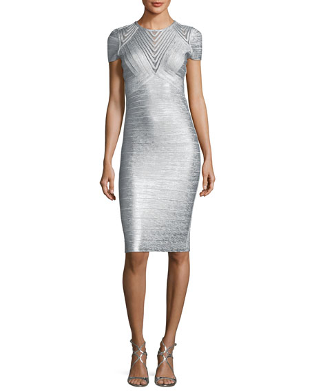 Geometric Illusion Straight Bandage Cocktail Dress