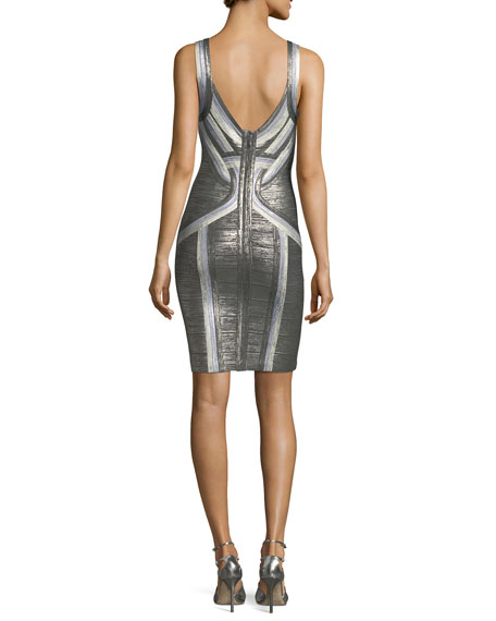 Tricolor Scoop-Neck Straight Tank Cocktail Dress