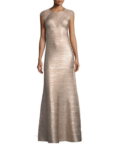Cap-Sleeve Geometric Illusion Bandage Evening Gown