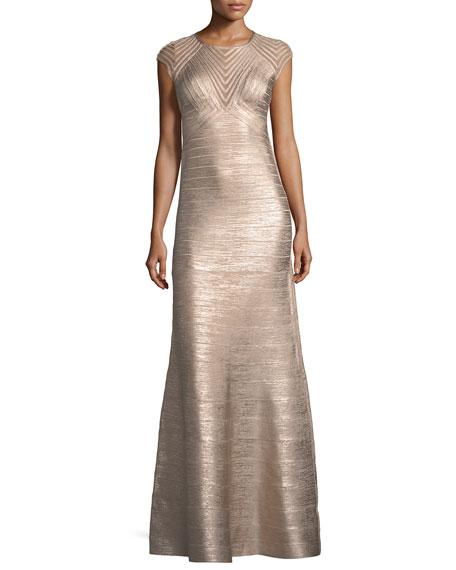 Cap-Sleeve Geometric Illusion Bandage Evening Gown