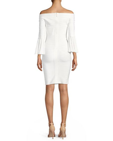 Off-the-Shoulder Bell-Sleeve Bandage-Knit Cocktail Dress