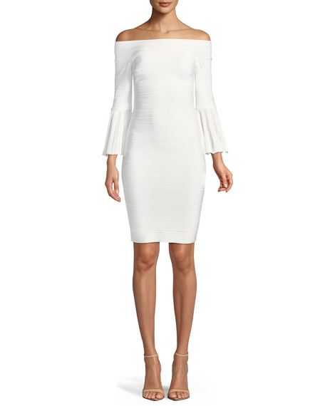 Off-the-Shoulder Bell-Sleeve Bandage-Knit Cocktail Dress