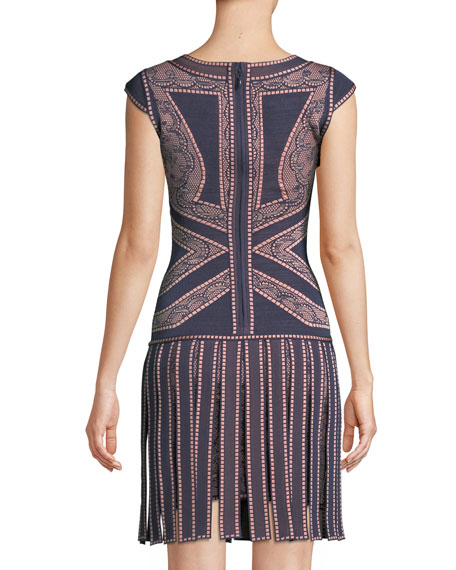 Sleeveless Round-Neck Fringe-Skirt Fitted Dress