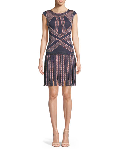 Sleeveless Round-Neck Fringe-Skirt Fitted Dress