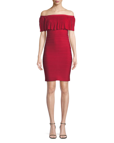 Herve Leger Off-the-Shoulder Pleated Knit Straight Cocktail Dress