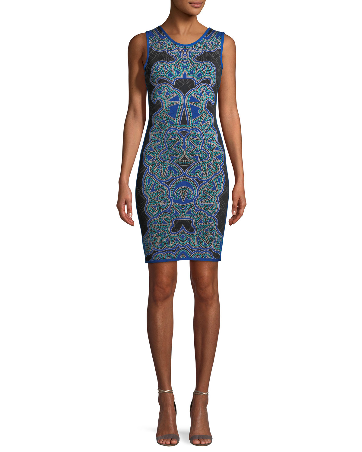 f2950ac623b8 Herve Leger Abstract Baroque Jacquard Fitted Cocktail Dress