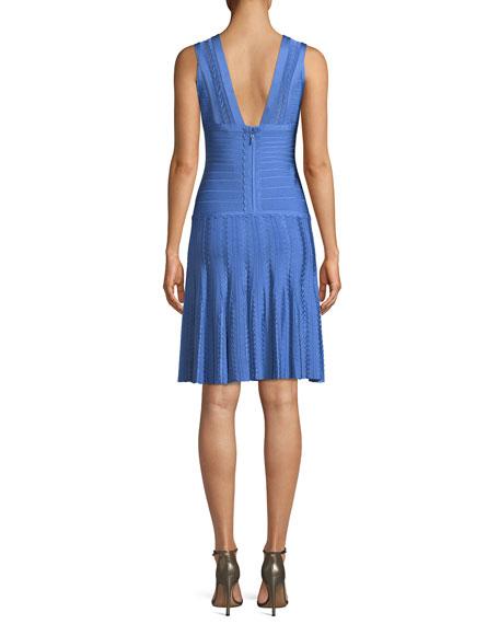 V-Neck Sleeveless Scalloped Pointelle Body-Con Cocktail Dress