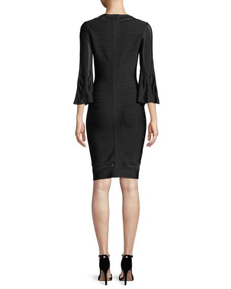 V-Neck 3/4-Sleeve Scalloped Pointelle Body-con Cocktail Dress