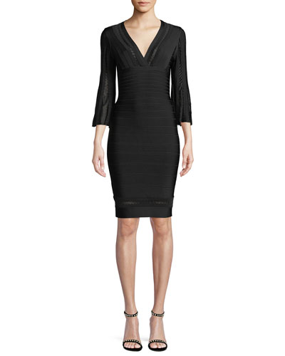 V-Neck 3/4-Sleeve Scalloped Pointelle Body-con Cocktail Dress