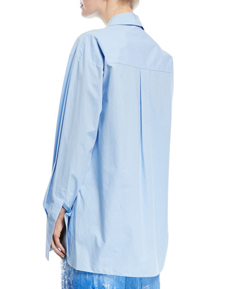 Tie-Waist Long-Sleeve Button-Front Shirt