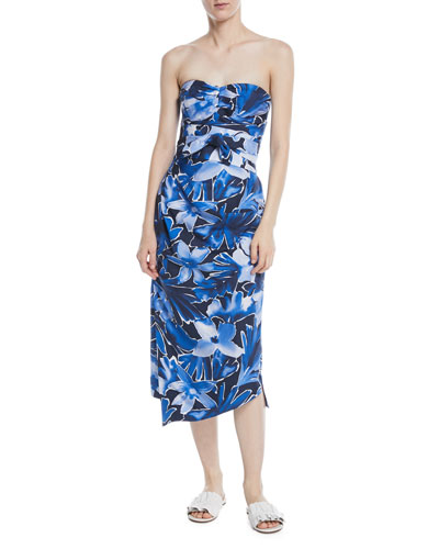 Strapless Tie-Waist Floral-Print Draped Silk Dress