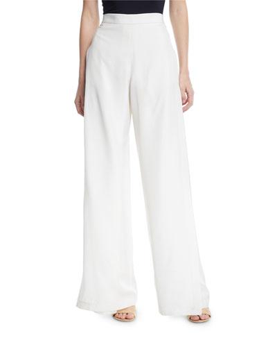 Wide-Leg Wrap Fluid Shantung Pants