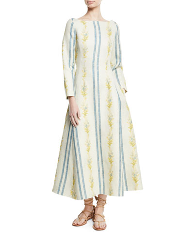 Brock Collection Dilian Bateau-Neck Floral & Stripe-Print Linen Midi Dress