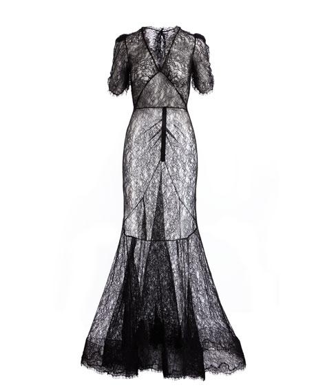 Dorrie Deep-V Chantilly Lace Evening Gown