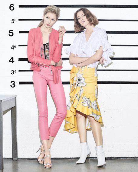 Mina Illusion Tulle Floral-Beaded Corset Bodysuit