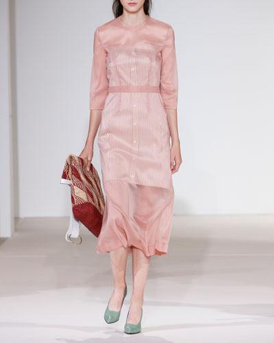 3/4-Sleeve Stretch Organza A-Line Midi Dress
